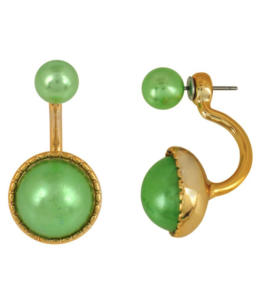 DzineTrendz Gold plated Green Round Black Front to back peek a boo earrings Metal Huggie Earring