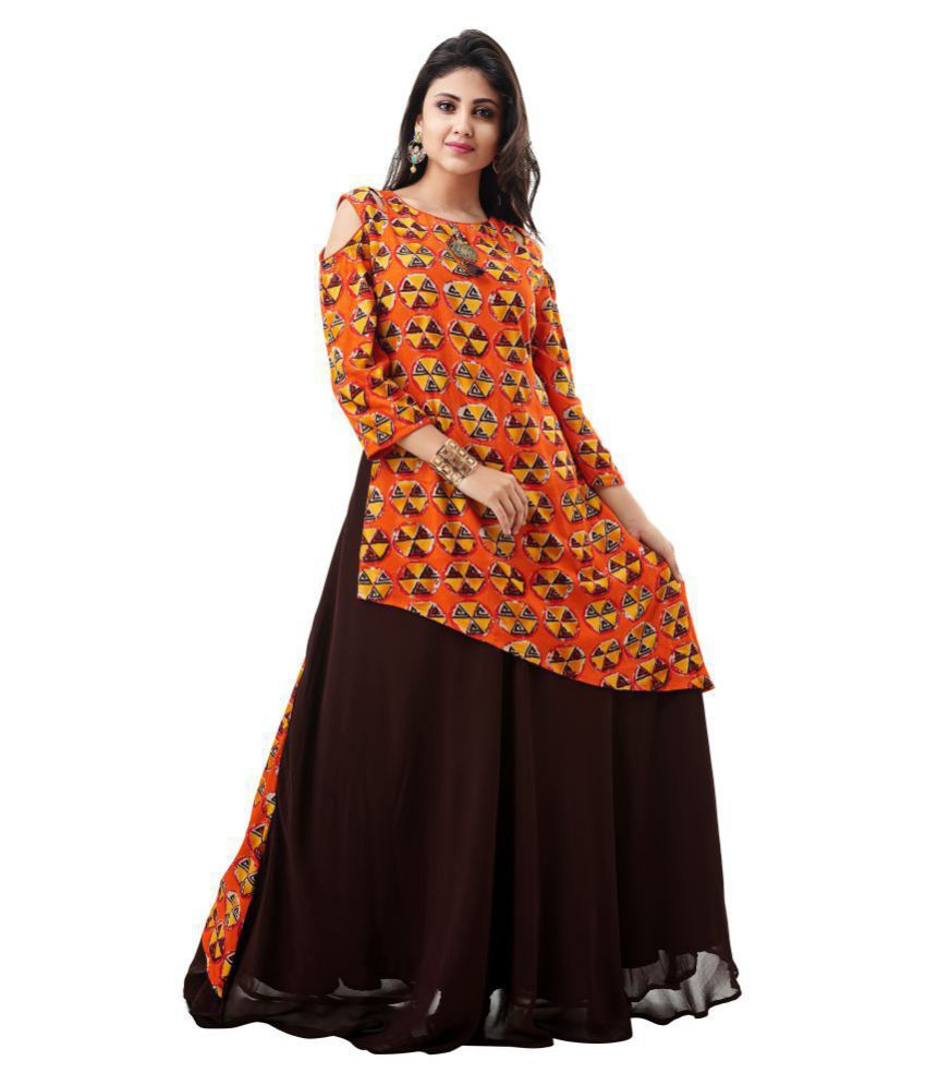 Fida Rayon Orange Gown