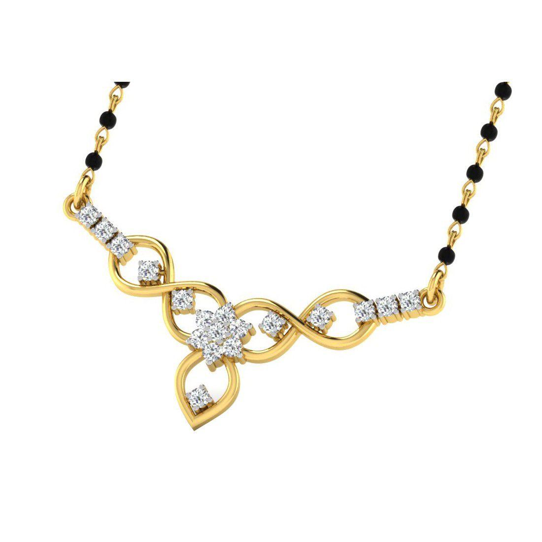 His & Her 9k Silver Diamond Mangalsutra