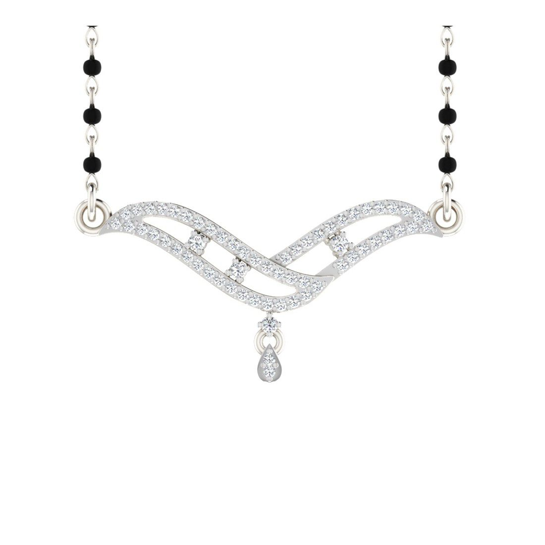 His & Her 9k Silver Diamond Mangalsutra