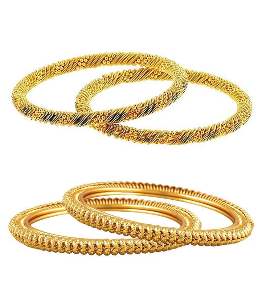 Aabhu Fancy Design Antique Gold Plated Bangle Kada Bracelet Set Jewellery Combo of 2 Pair for Women Girl