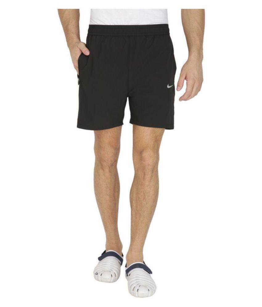 Nike Black Polyester Lycra Shorts for Jogging