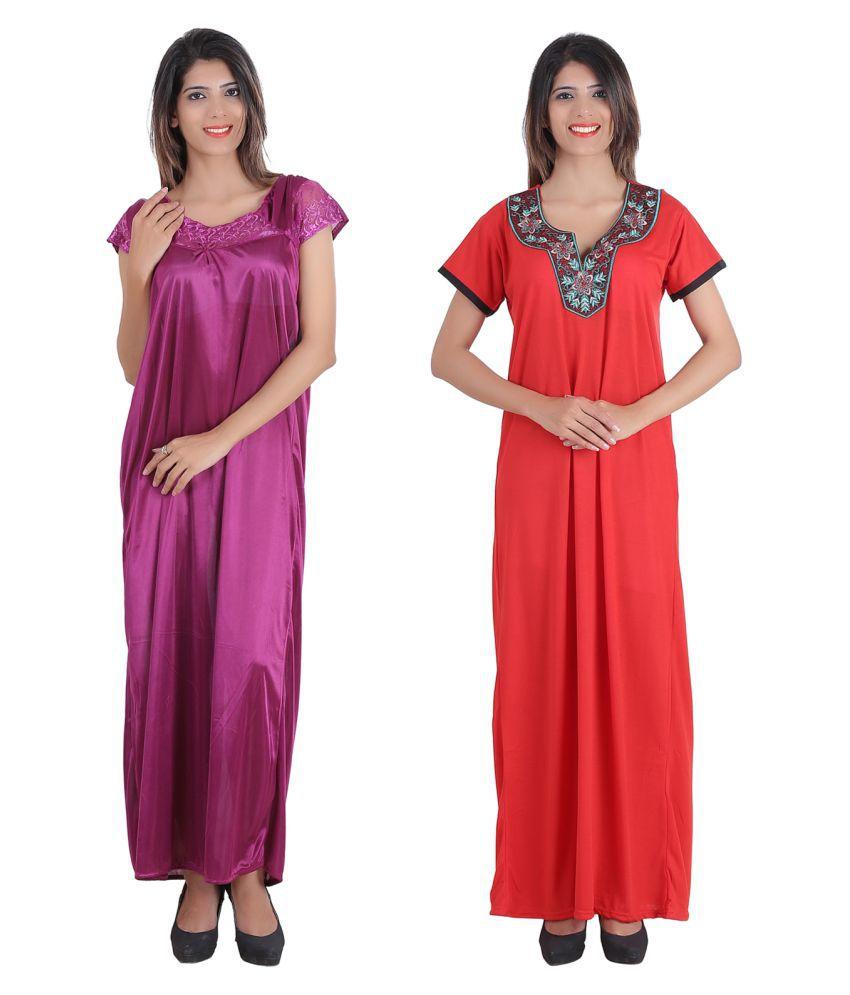 Glossia Satin Nighty & Night Gowns - Multi Color