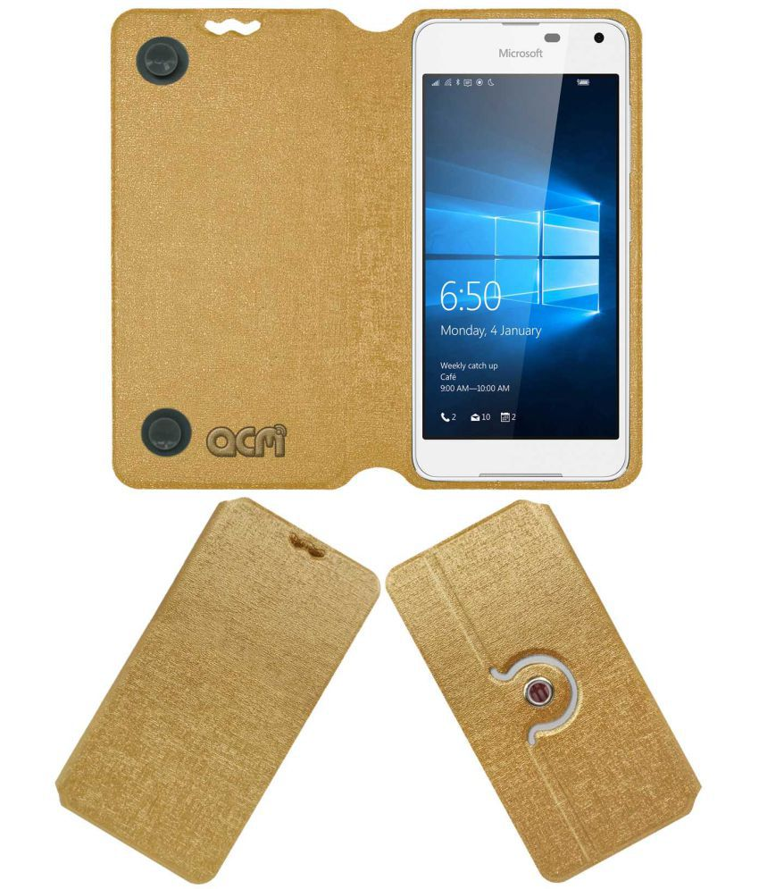 Microsoft Lumia 650 Flip Cover by ACM - Golden