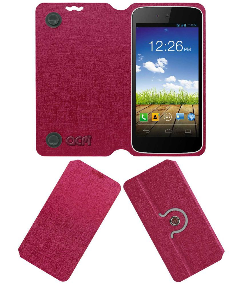 Micromax Canvas A1 Flip Cover by ACM - Pink