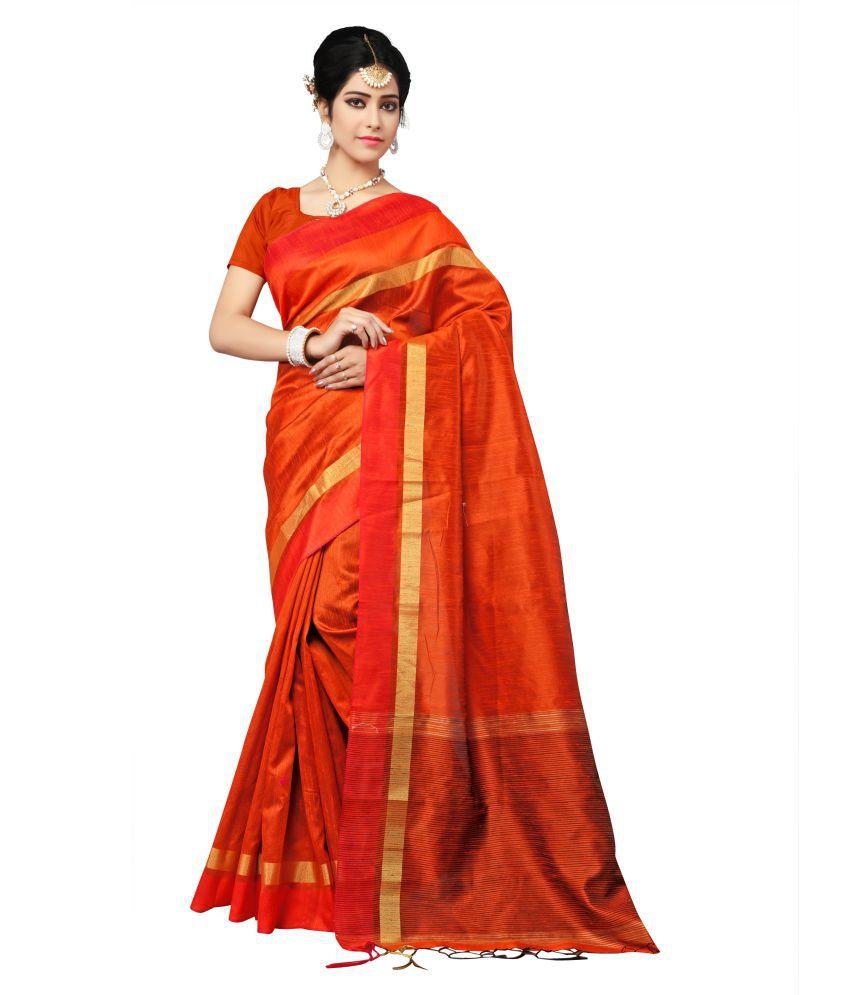 Indian Fashionista Orange Silk Saree