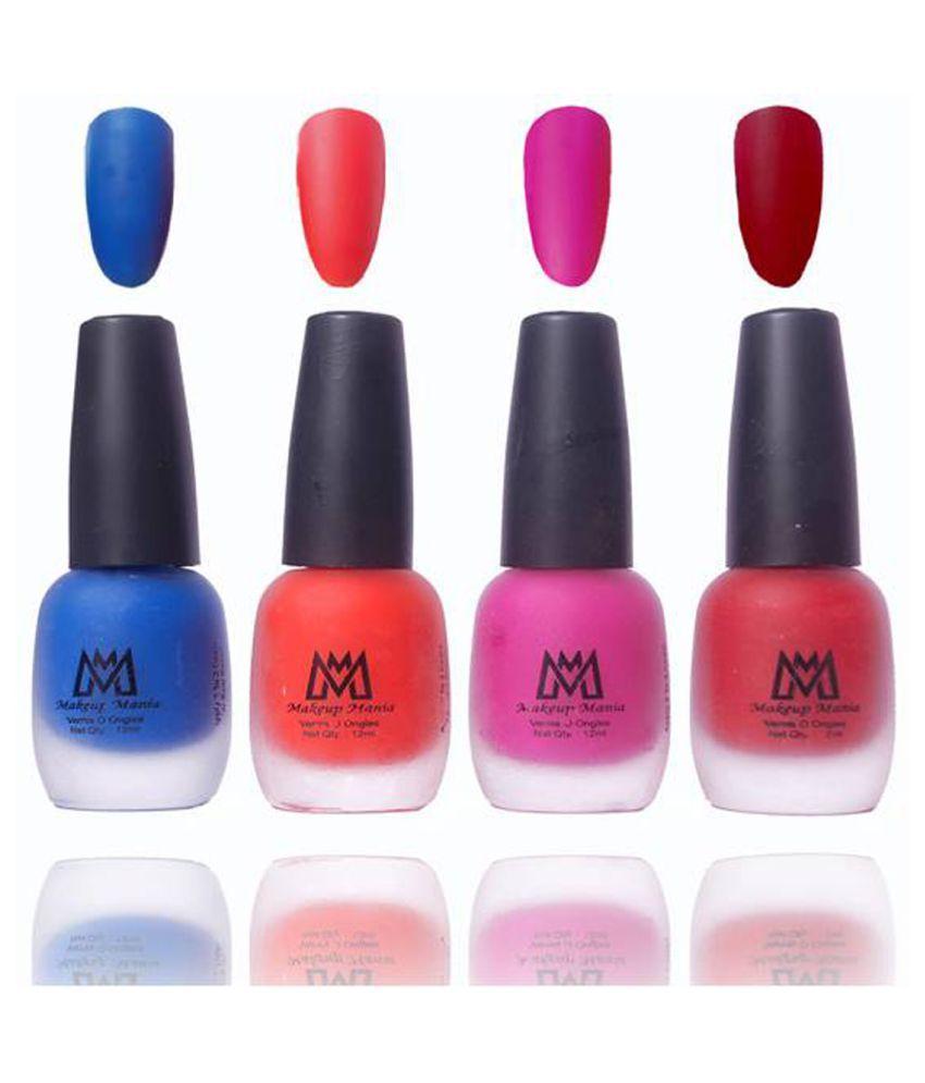Makeup Mania Premium Set Of 4 Velvet Matte Nail Polish Blue Orange Pink Maroon 48 Ml