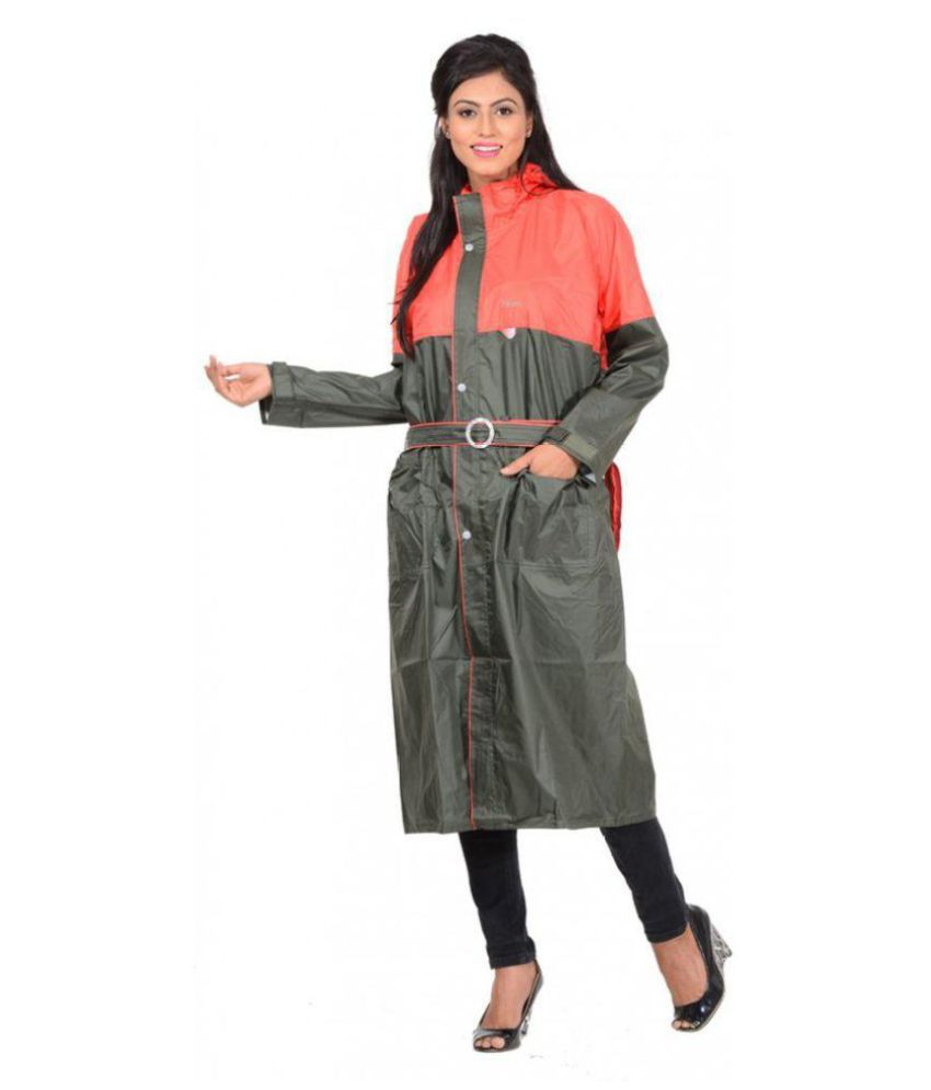 NiceG Polyester Long Raincoat - Green