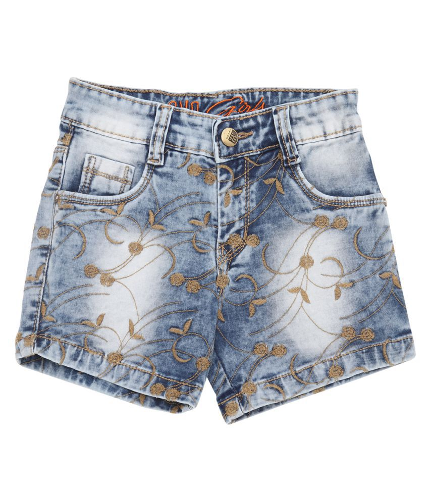 OVO Girls Denim Embroidered Regular Fit Shorts