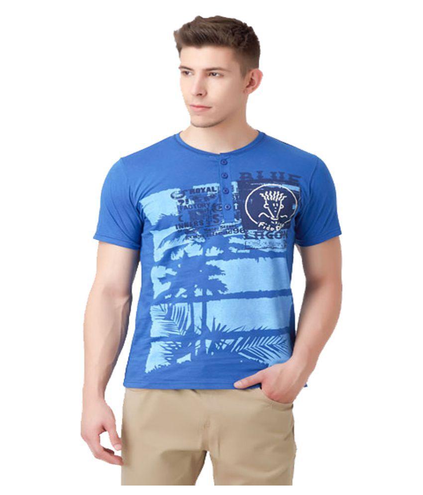 FIDO DIDO Blue Henley T-Shirt Pack of 1