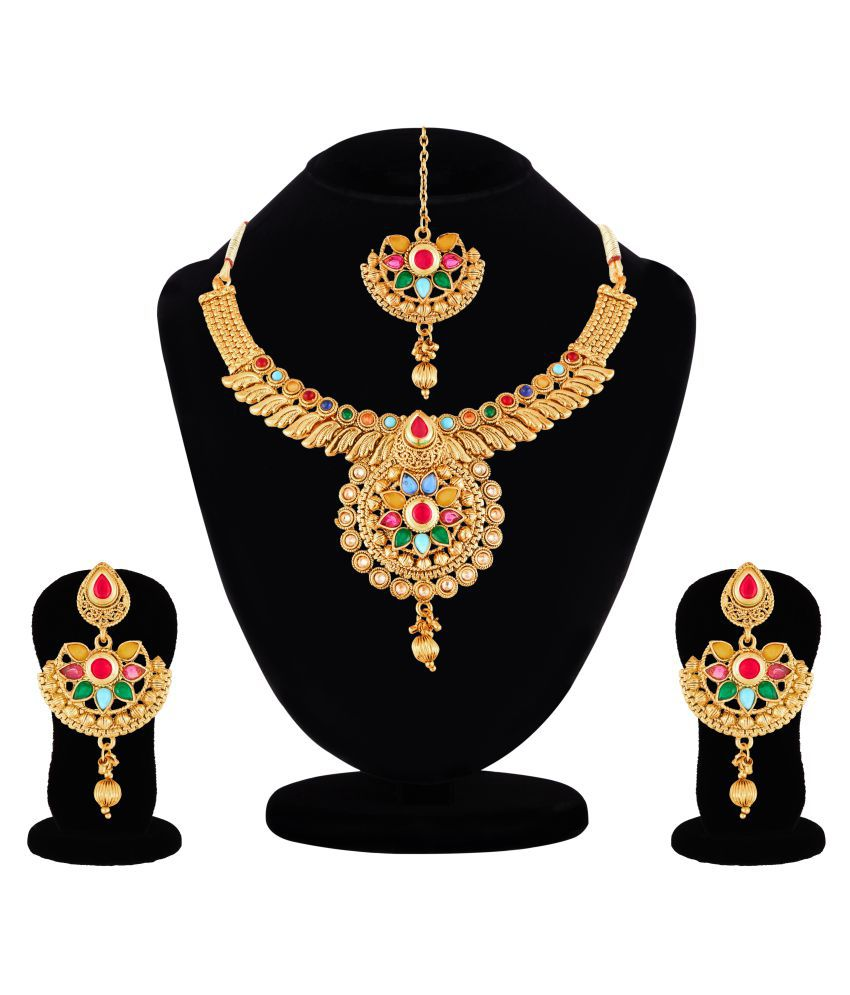 Apara Antique Gold Plated Navratna Jewellery Set For Women / Girls