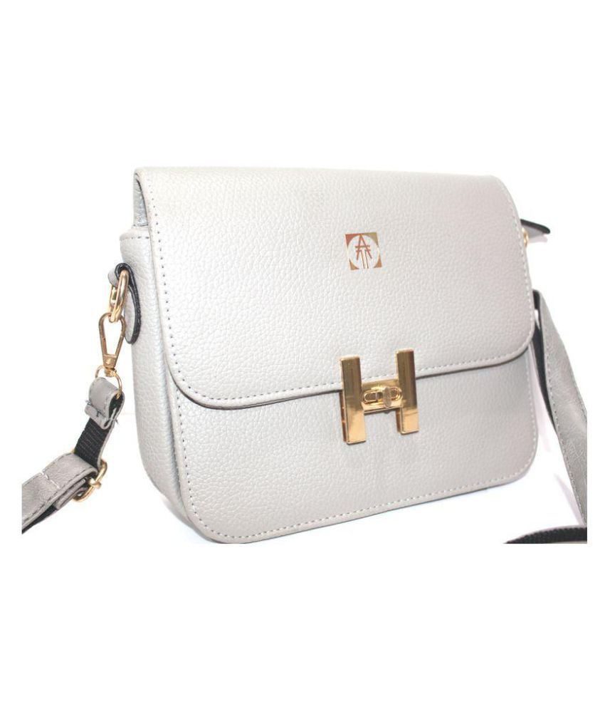 Technology Ahead Gray Faux Leather Sling Bag