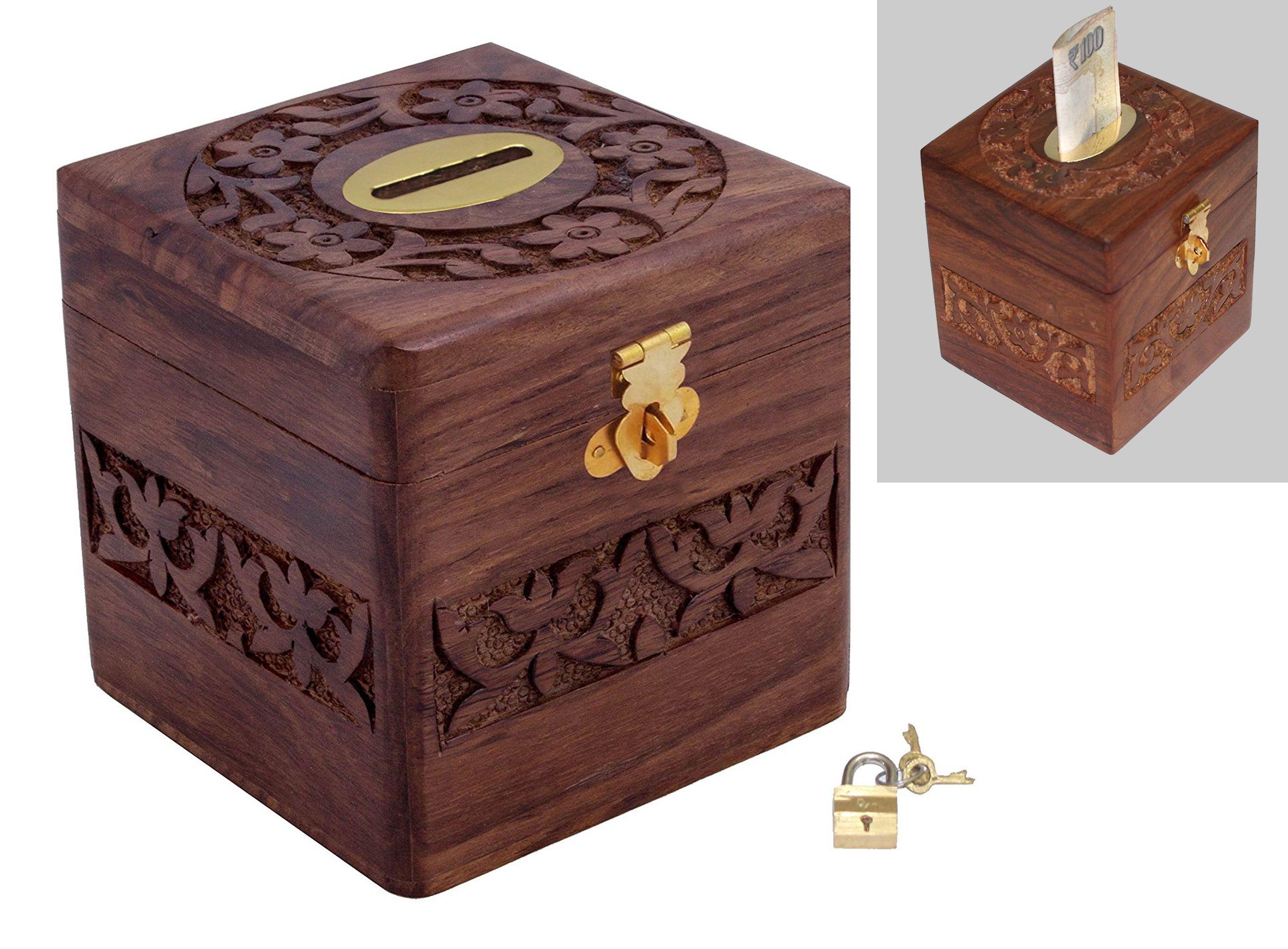 Craft Art India Decorative Handmade Wooden Square Shape Money Bank
