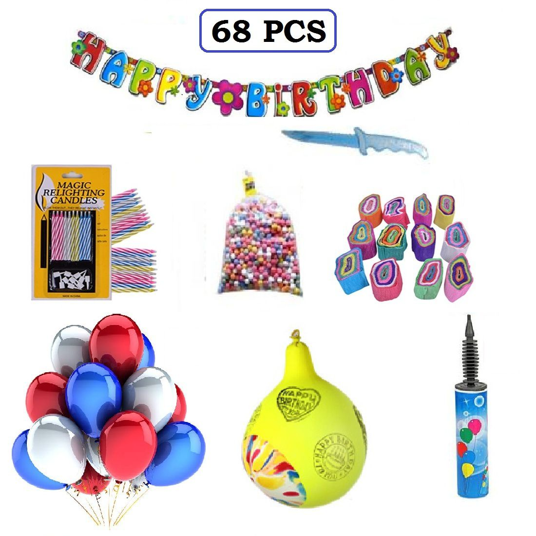 Factory 21 Happy Birthday Decoration Kit 68 PcsParty Pack Combo
