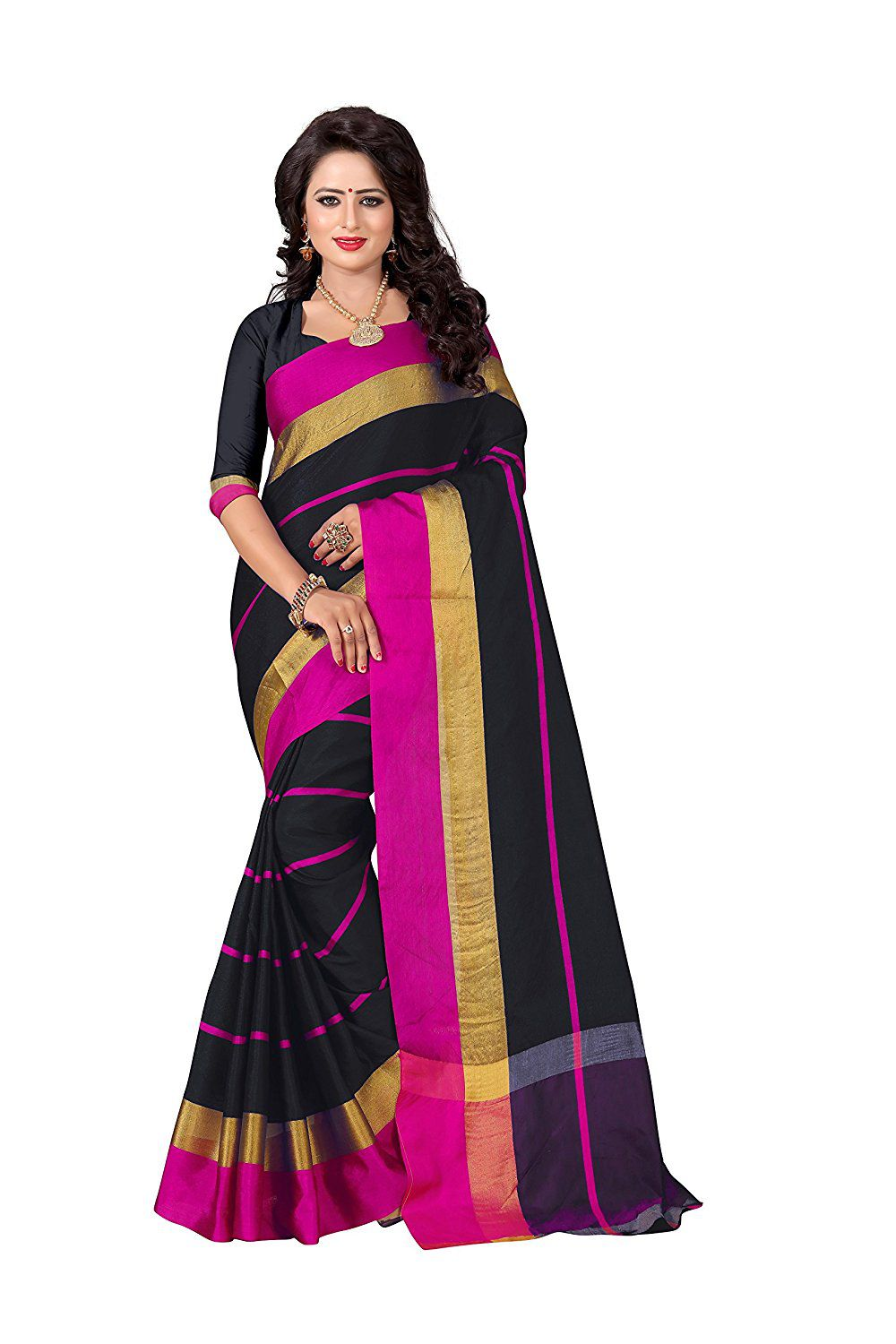 WALKNSHOP Black Cotton Saree