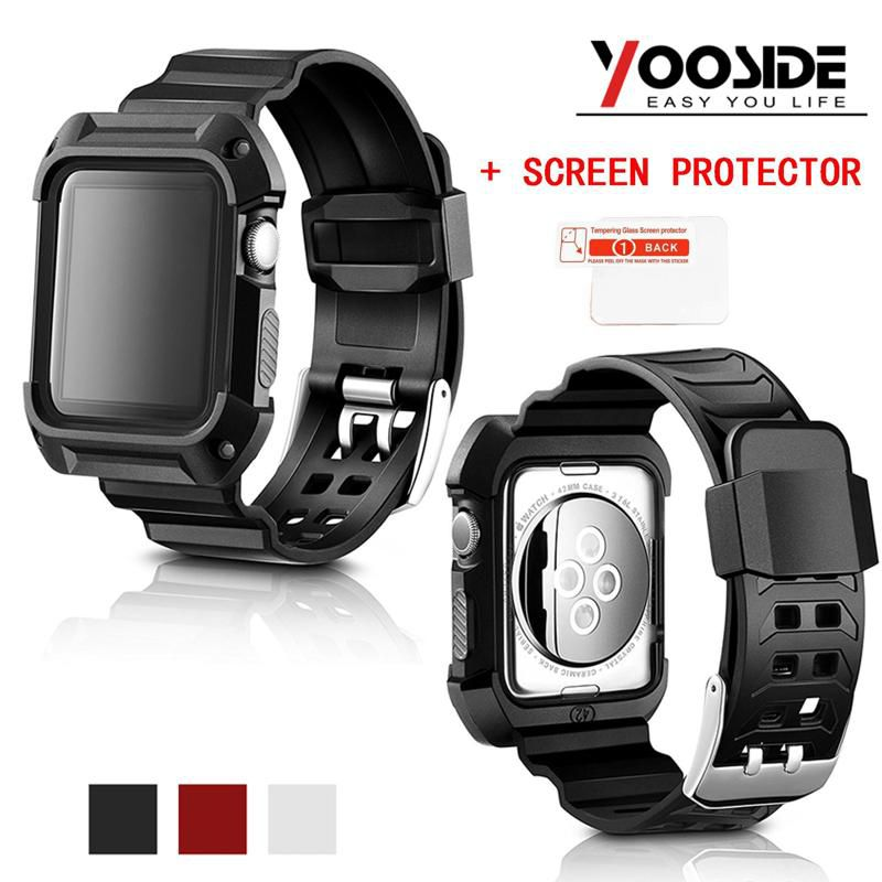 more photos 5e679 7cb06 WowObjects Rugged Armor Case with Strap Band for Apple Watch Series 3/2/1  42mm/38mm (Built in Tempered Glass Screen Protector)