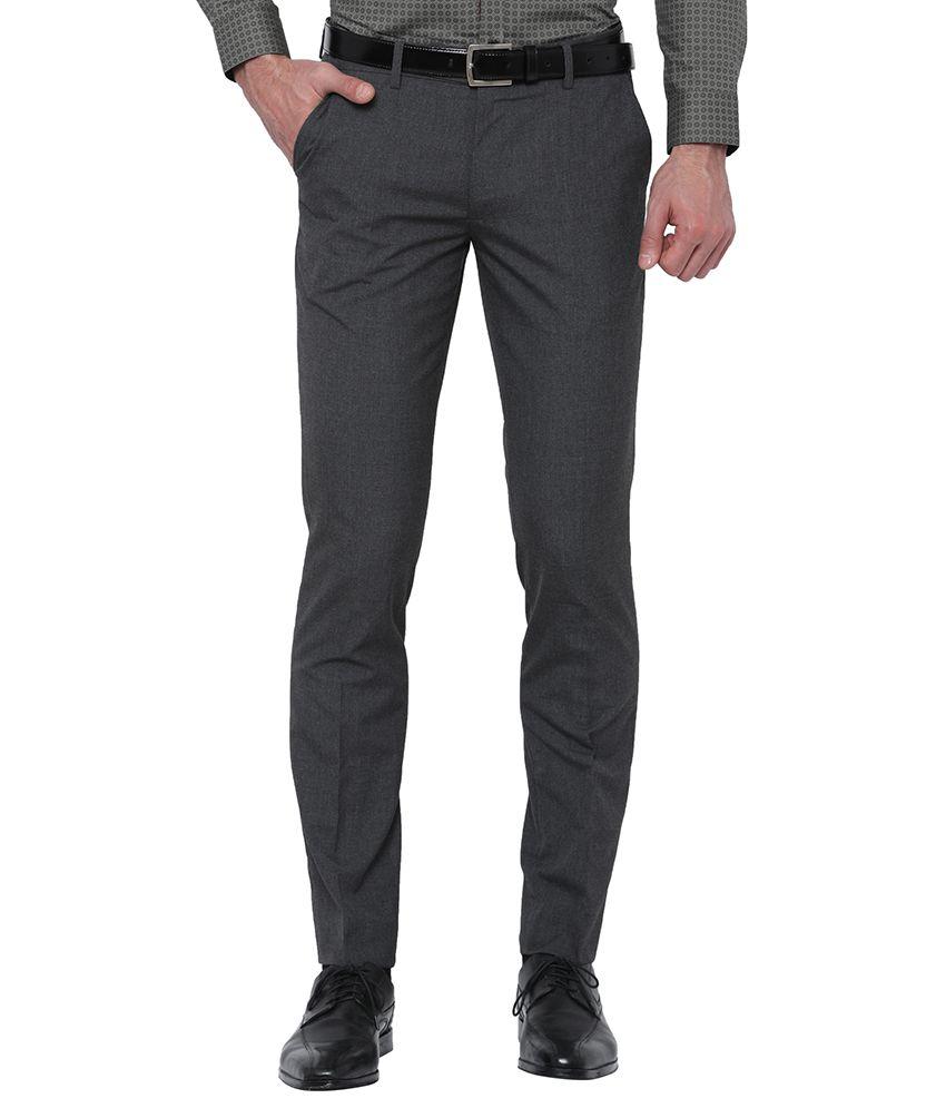 Black Coffee Black Slim -Fit Flat Trousers