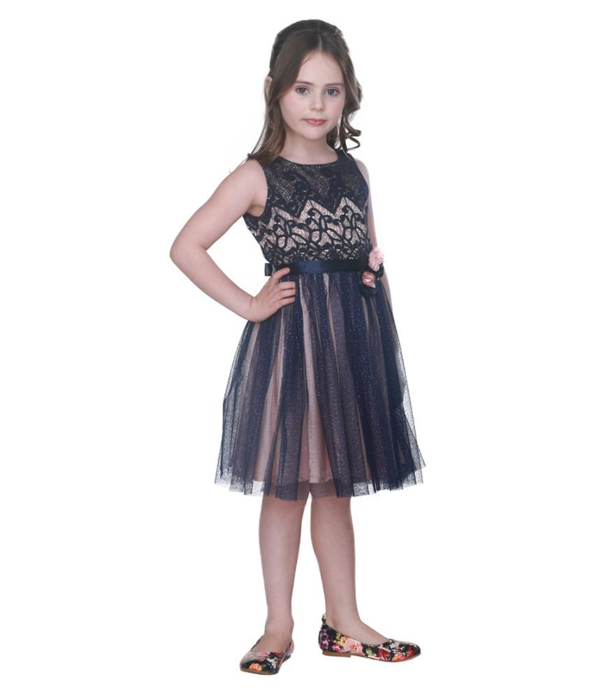 Cutecumber Girls Partywear Lace Fabric & Net Dress