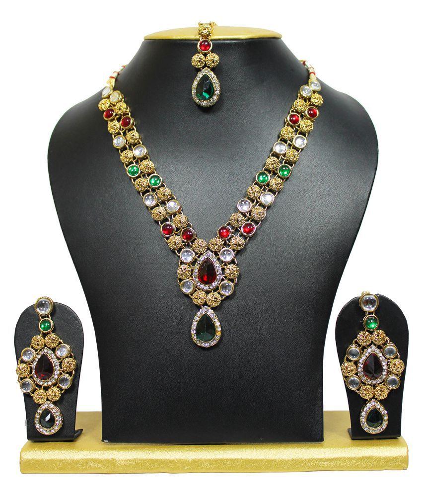 Maroon Green Kundan Marvels Necklace Set