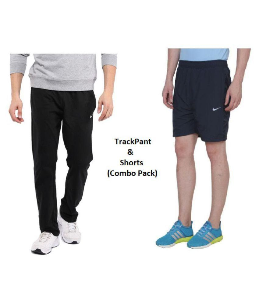 Nike Black Polyester Men/Boy's TrackPant and Shorts Combo Pack