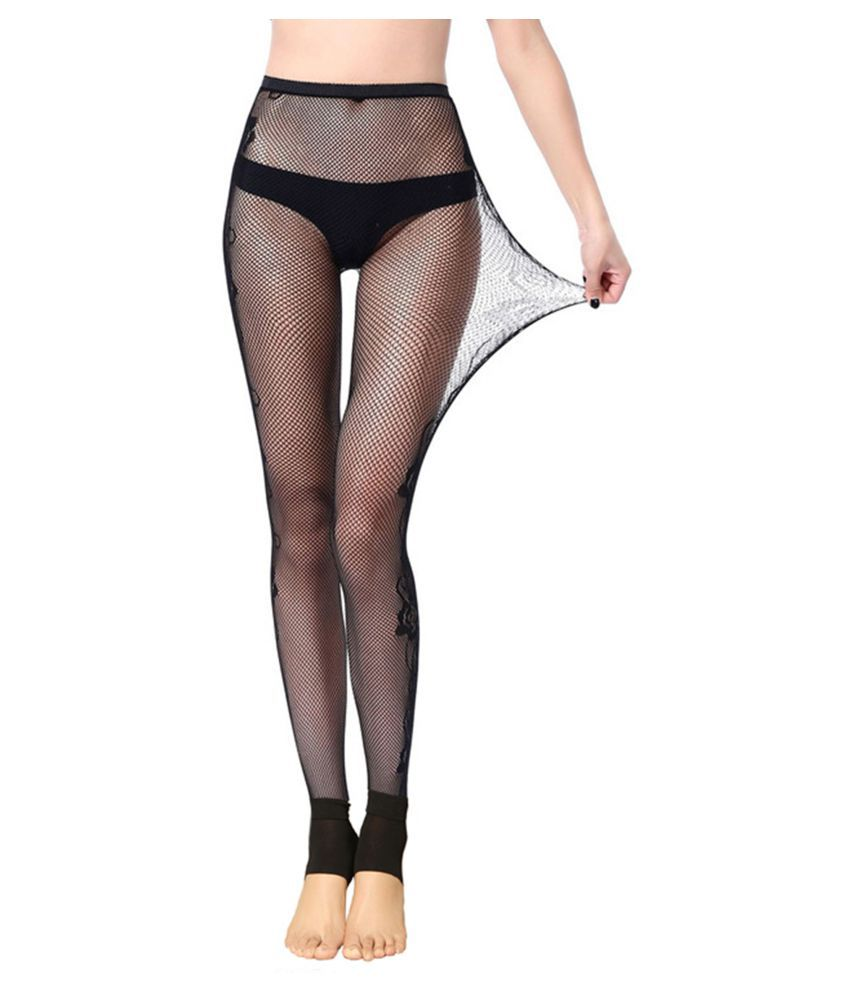 Presents Black Color 80% Cotton & 20% Spandex Mesh Double Leggings.