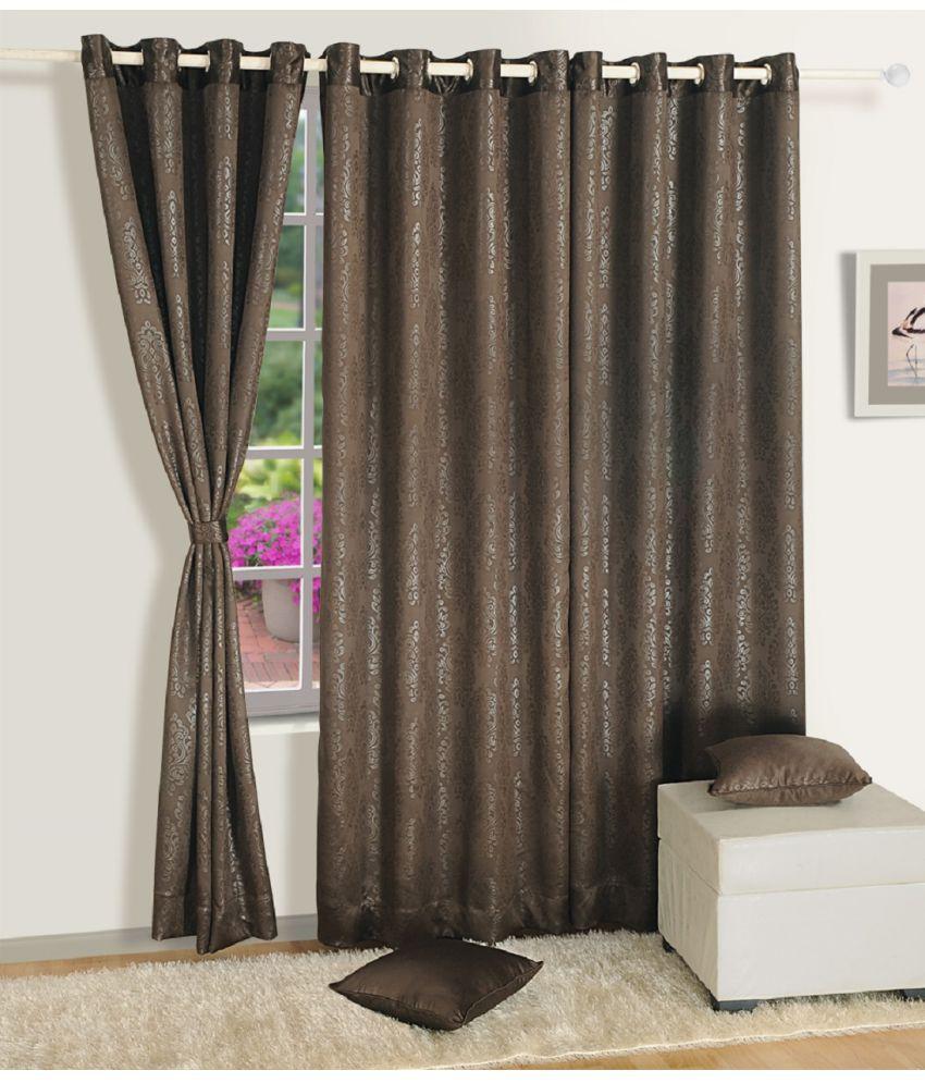 Swayam Single Door Eyelet Curtains Paisley Dark Brown