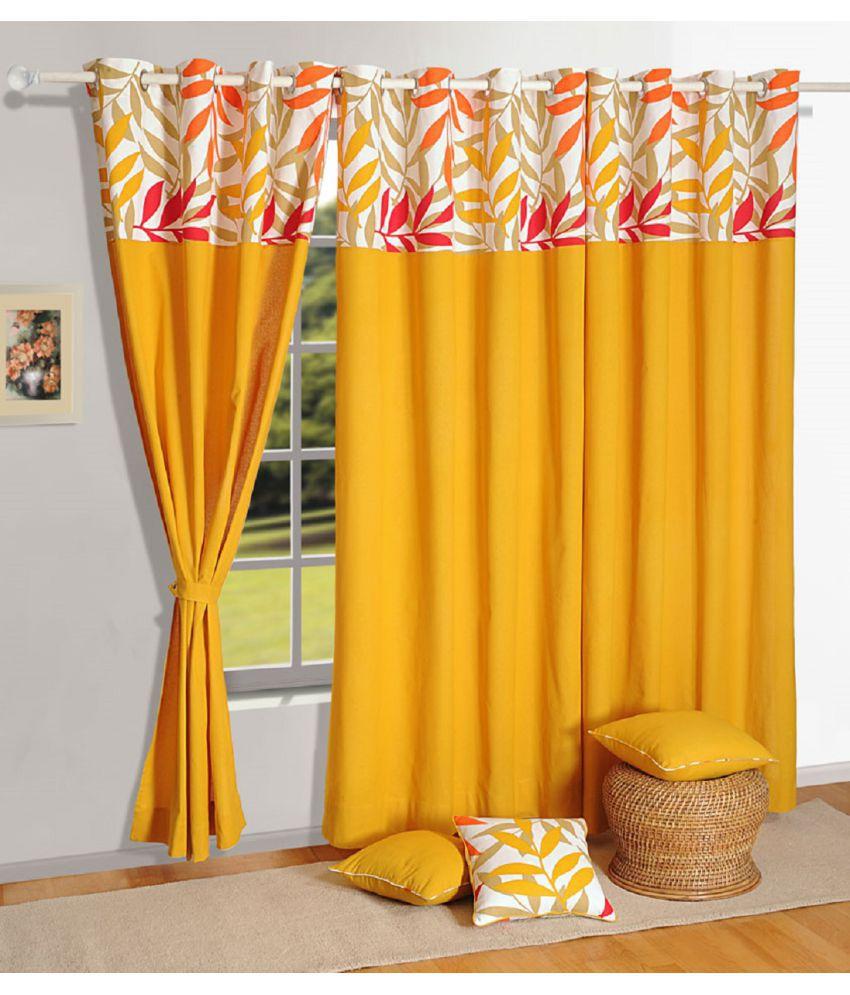 Swayam Single Long Door Eyelet Curtains Solid Mustard