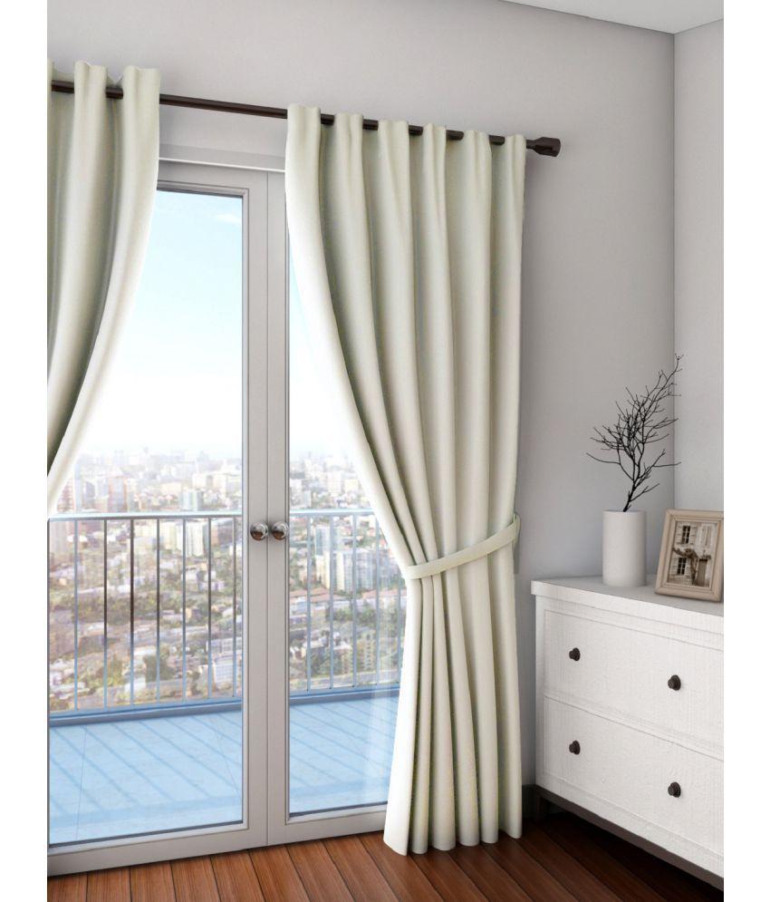 Swayam Single Long Door Eyelet Curtains Solid Cream