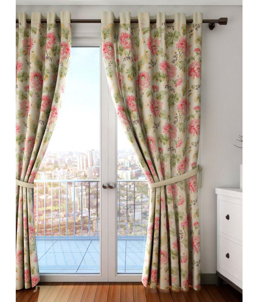Swayam Single Long Door Eyelet Curtains Floral Cream
