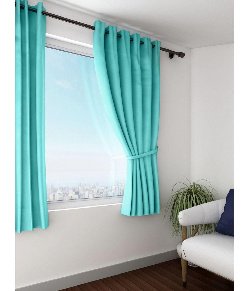 Swayam Single Window Eyelet Curtains Solid Blue