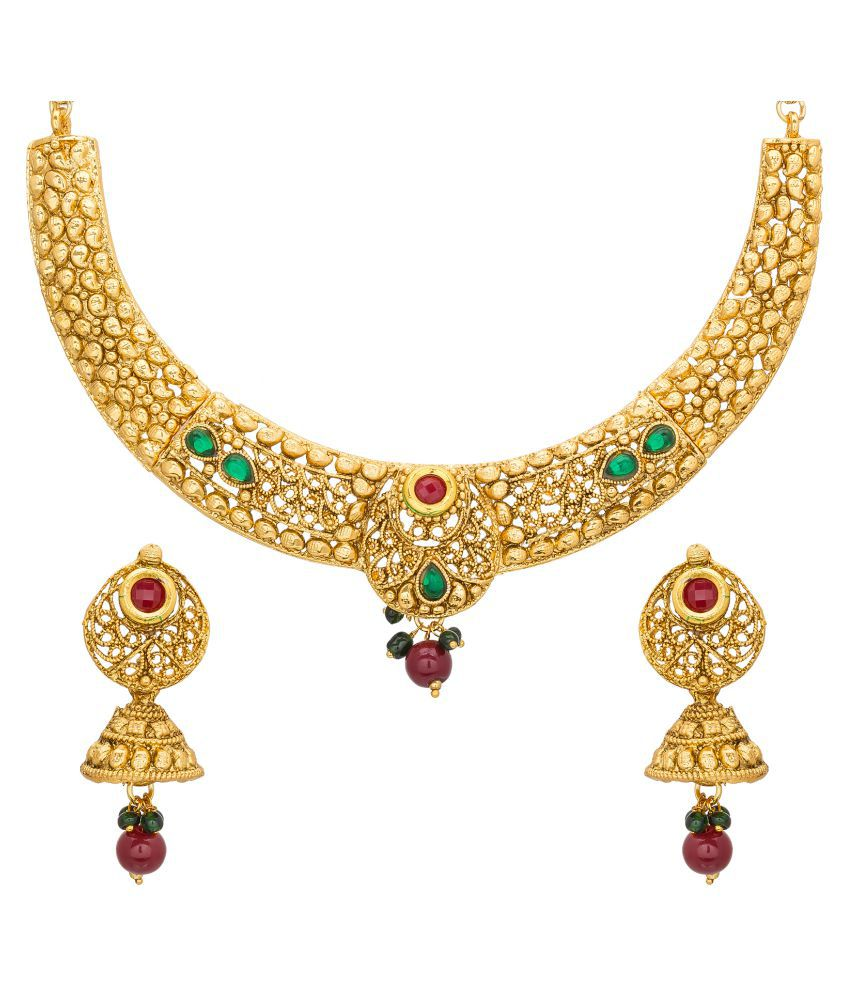 The Luxor Traditional Ethnic Pearl Studded Collar Necklace Set with Earrings for Women and Girls
