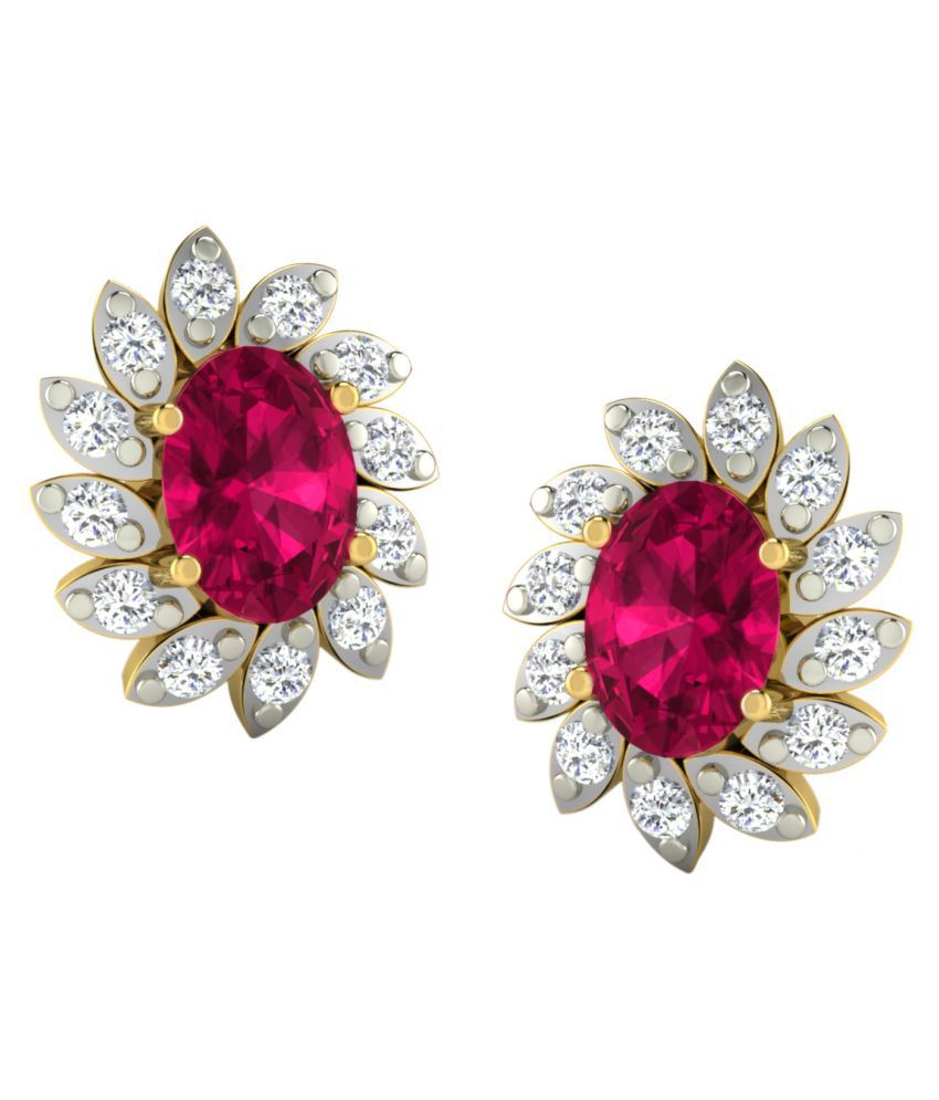 His & Her 18k BIS Hallmarked Yellow Gold Ruby Drop Earrings