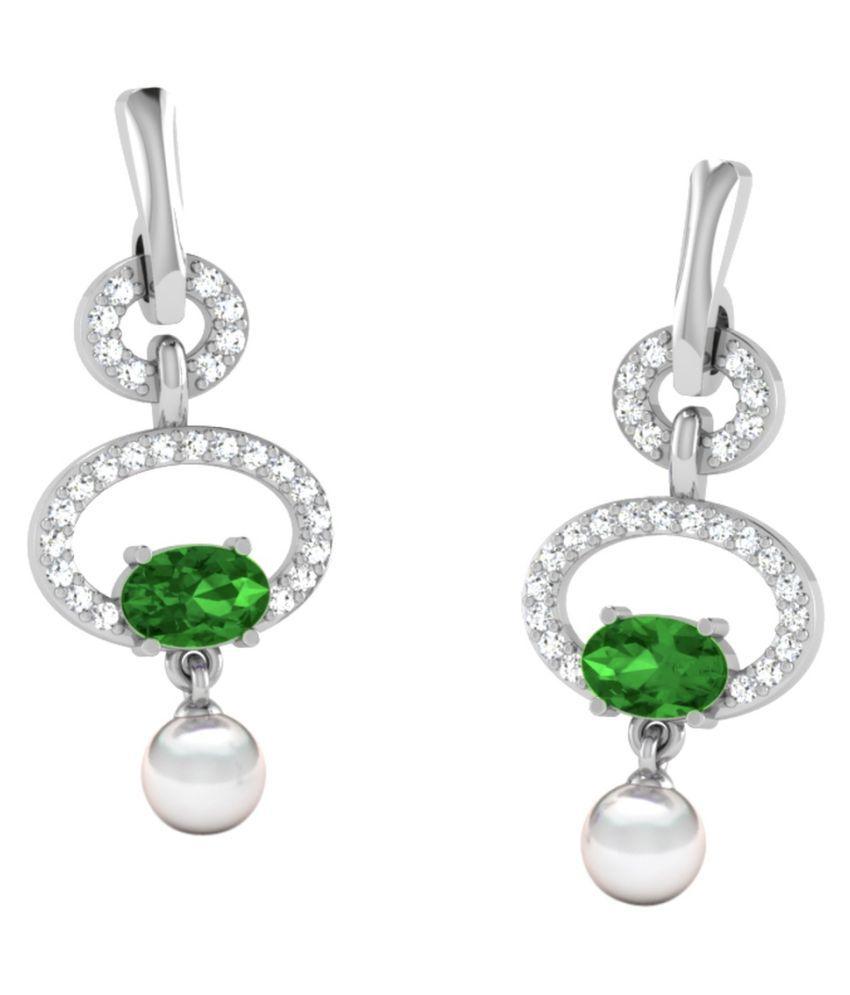 His & Her 18k BIS Hallmarked White Gold Emerald Hangings