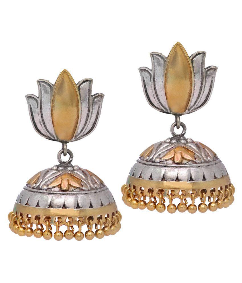 Lotus Design Two Tone Oxidised Silver & Earrings