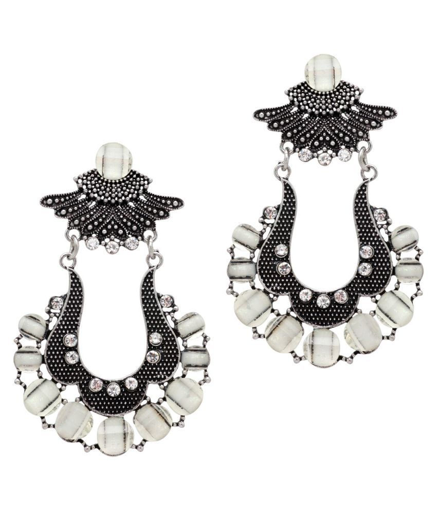 White Color Glass Stone Festive Special Traditional Dangle Earrings