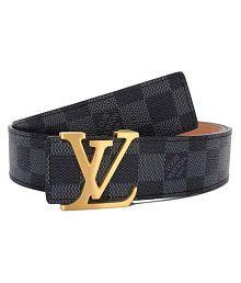 LV Belt Black Leather Party Belt