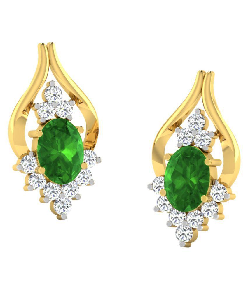His & Her 18k BIS Hallmarked Yellow Gold Emerald Studs