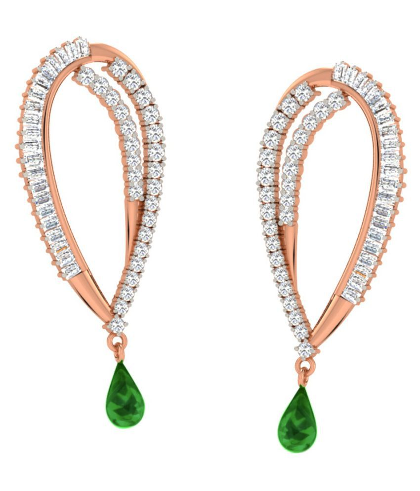 His & Her 18k BIS Hallmarked Rose Gold Emerald Drop Earrings