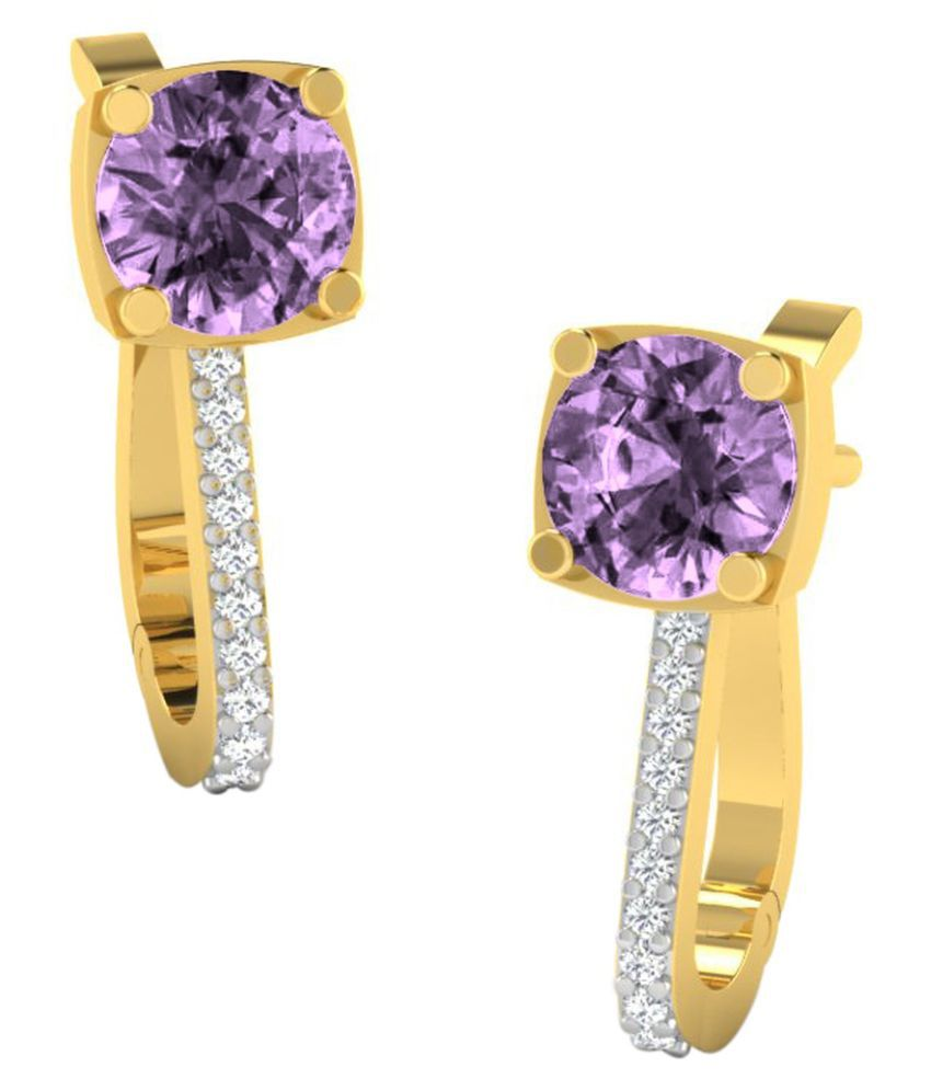 His & Her 18k BIS Hallmarked Yellow Gold Amethyst Hoop