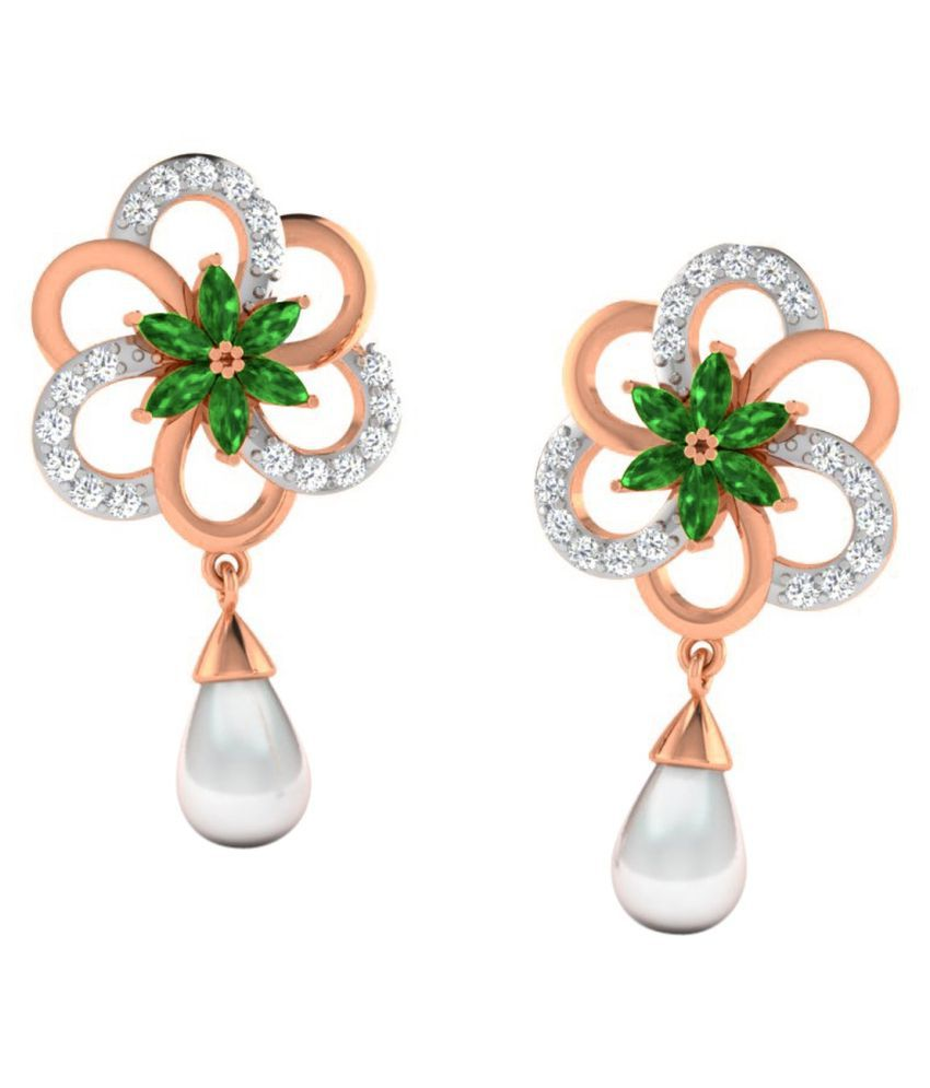 His & Her 18k BIS Hallmarked Rose Gold Emerald Hangings