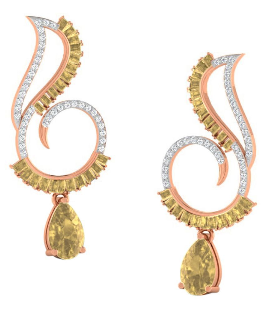 His & Her 18k BIS Hallmarked Rose Gold Citrine Drop Earrings