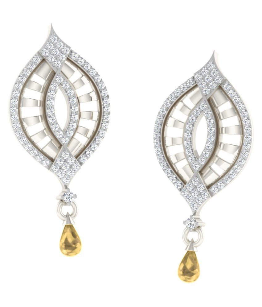His & Her 18k BIS Hallmarked White Gold Citrine Drop Earrings