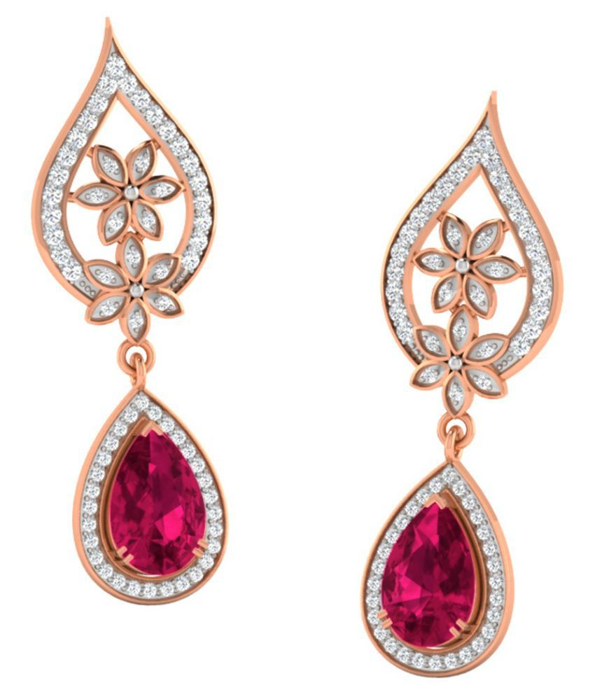 His & Her 18k BIS Hallmarked Rose Gold Ruby Drop Earrings
