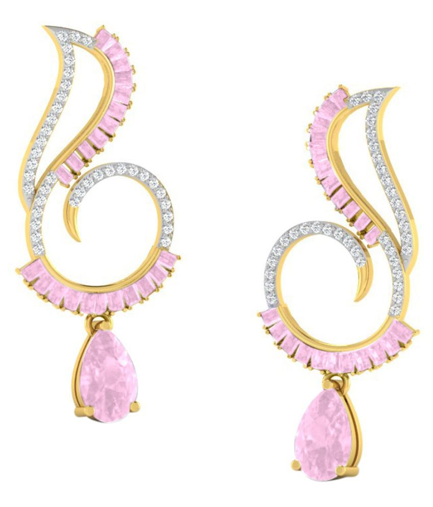 His & Her 18k BIS Hallmarked Yellow Gold Sapphire Drop Earrings