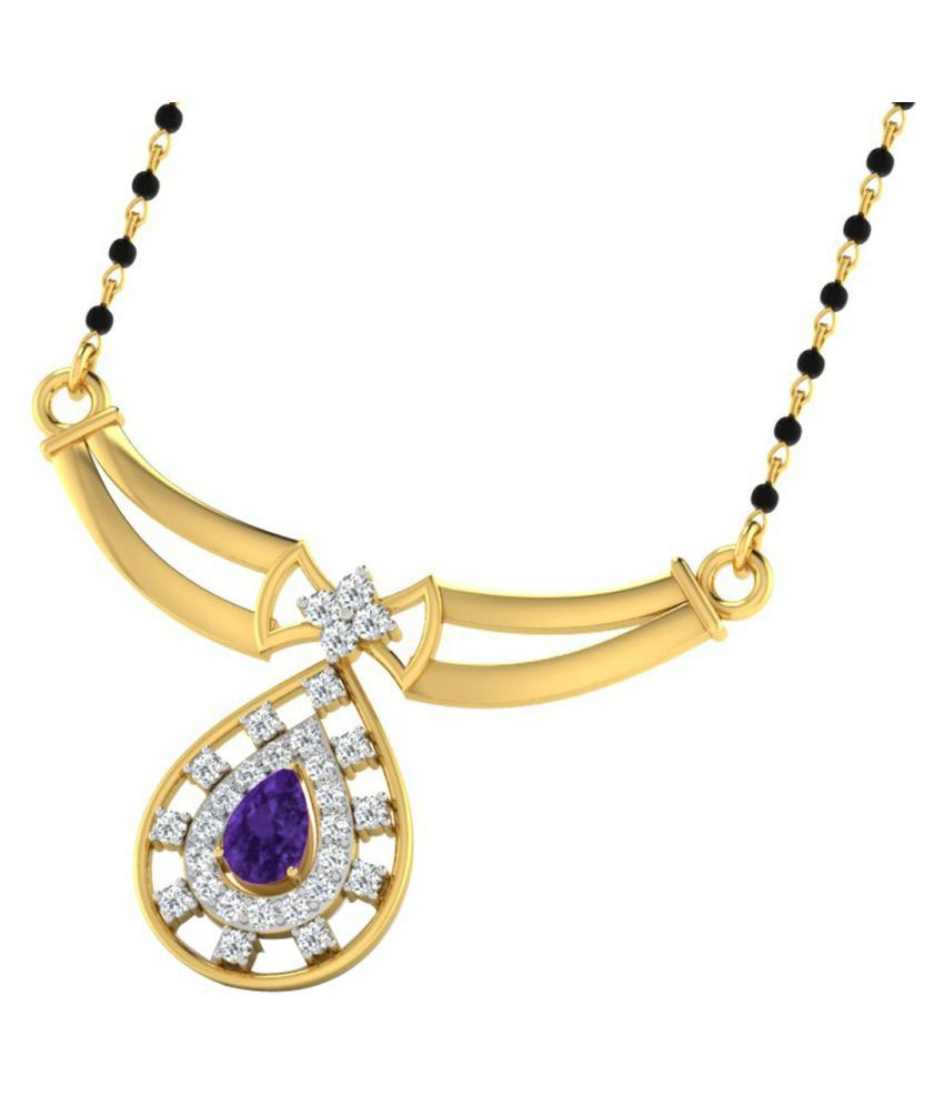 His & Her 18k Yellow Gold Amethyst Mangalsutra