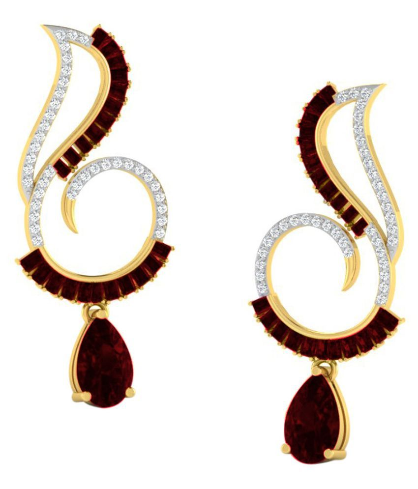His & Her 18k BIS Hallmarked Yellow Gold Garnet Drop Earrings