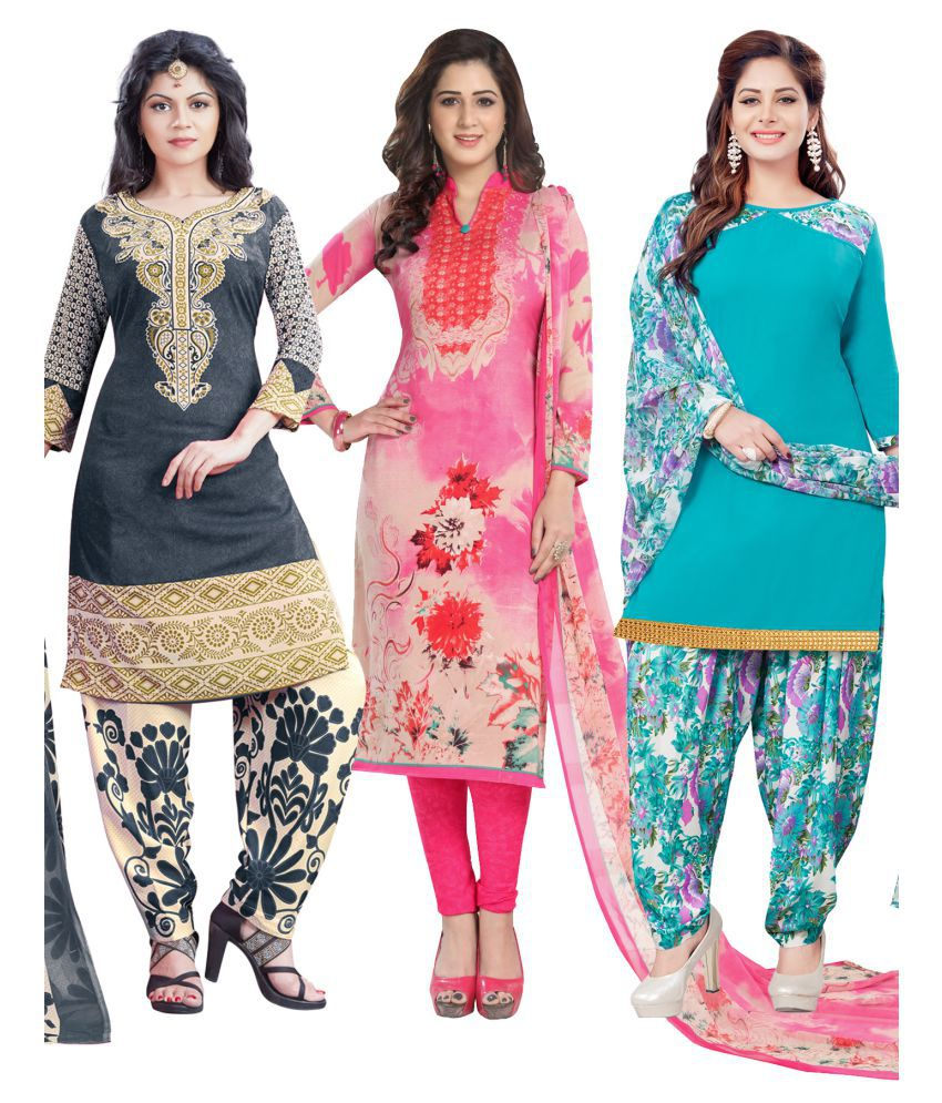 Salwar Studio Grey and White Synthetic Dress Material