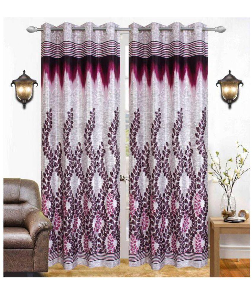 Tanishka Fabs Set of 2 Door Eyelet Curtains Floral Wine