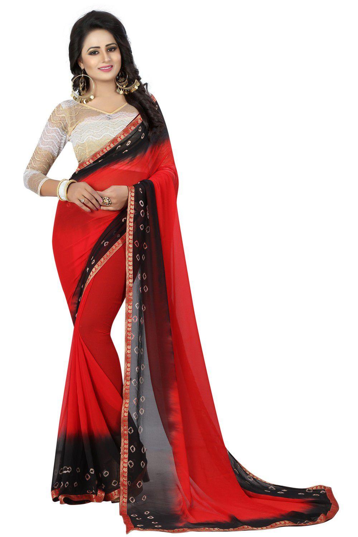 KK Fashion Red Chiffon Saree