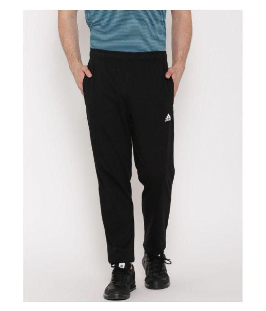 Adidas Blue/Black Polyester Lycra Trackpants